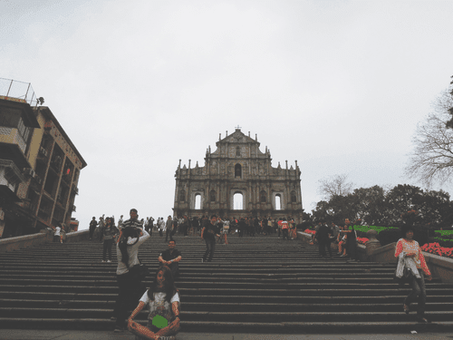 Stairs leading to the Ruins of St. Paul's at Largo do Senado in Macau