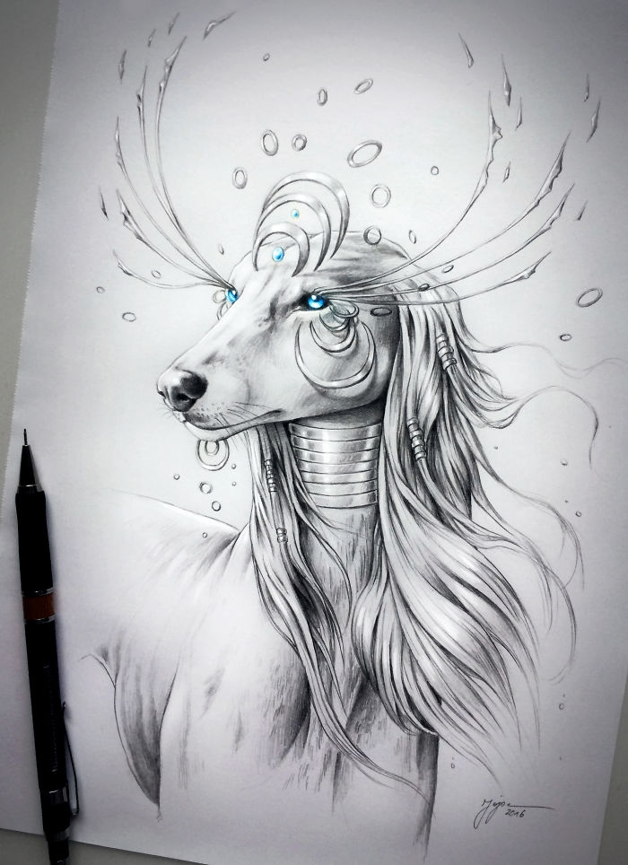 08-Saluki-Jonas-Jödicke-jojoesart-Fantasy-Animal-Drawings-with-Souls-of-Nature-www-designstack-co