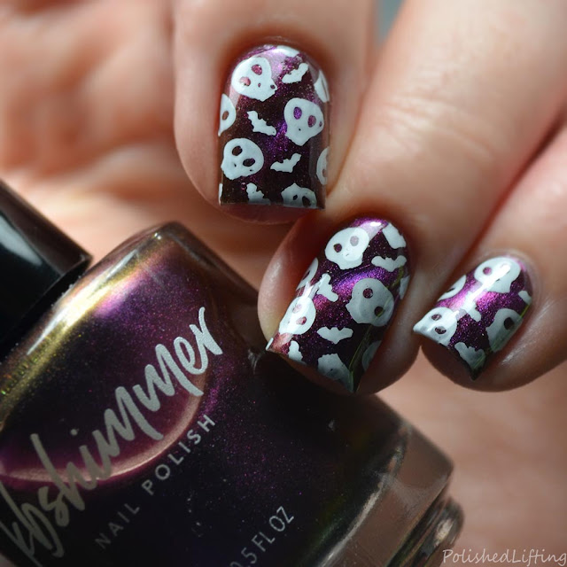skull and bat halloween nail art