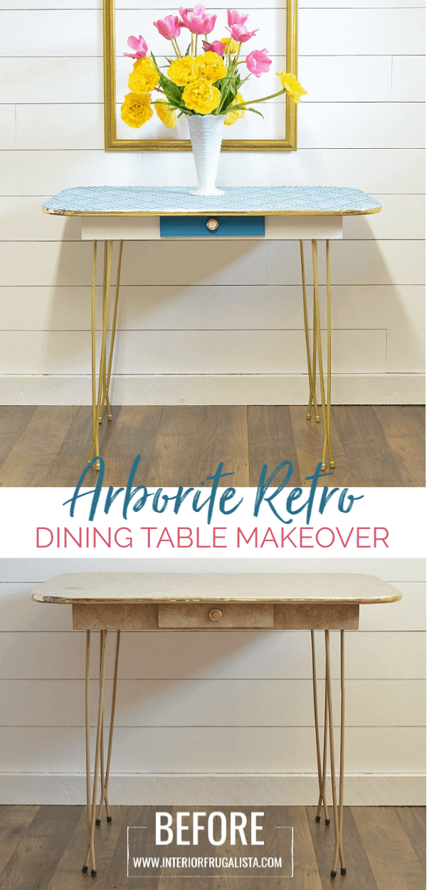 Painted Arborite Retro Dining Table Makeover Before And After