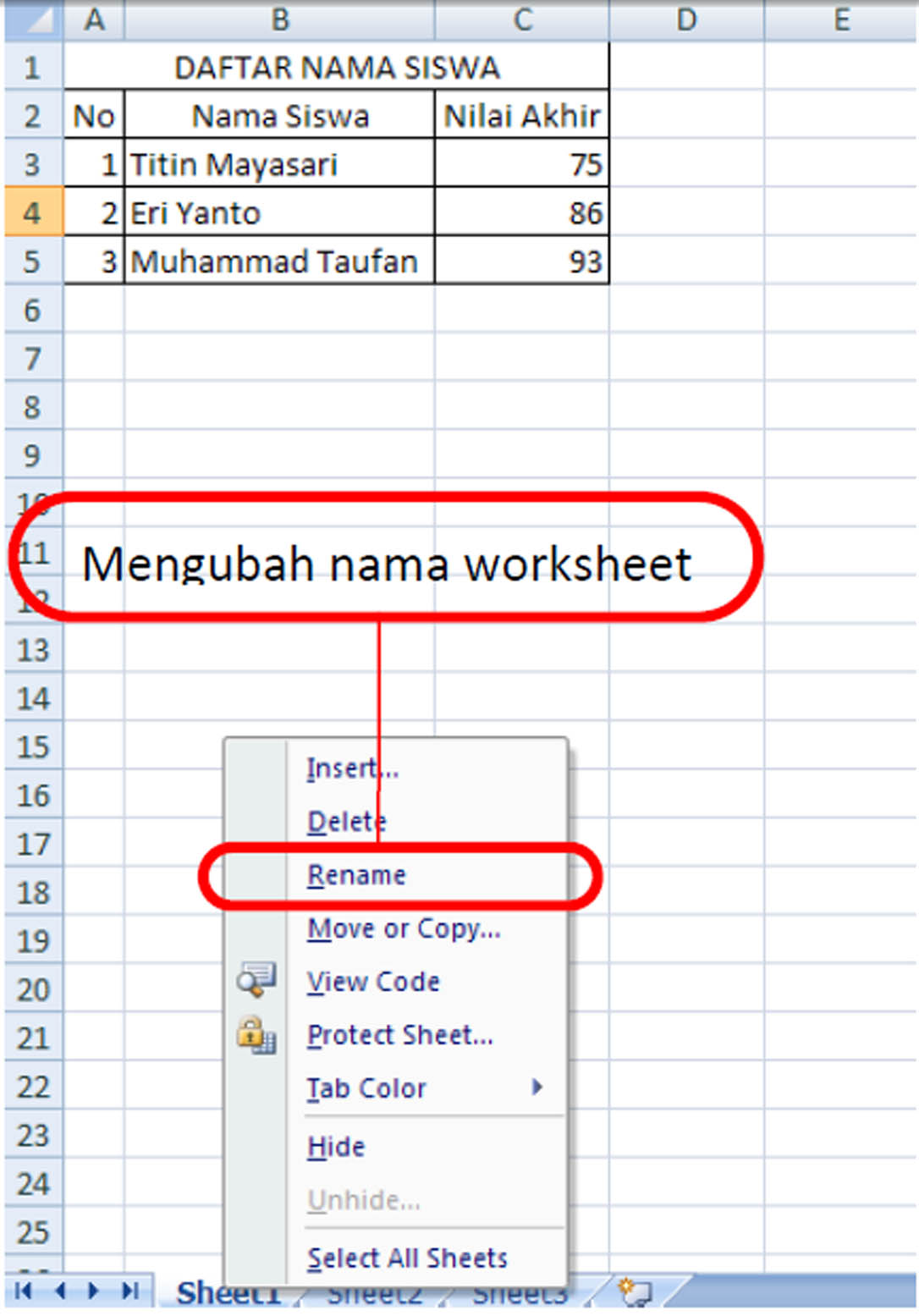 Tugas Tik Materi Kelas 8 Mengenal Worksheet Ms Excel