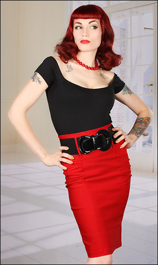 185976a2ac Locked and loaded and back in stock! Pin up girl pencil skirt