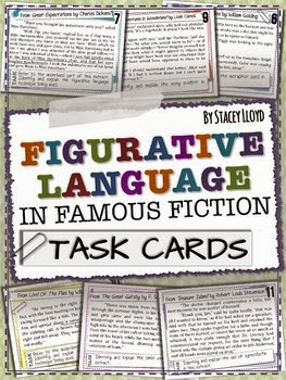 http://www.teacherspayteachers.com/Product/Figurative-Language-in-Famous-Fiction-TASK-CARDS-1279804