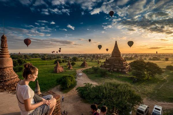 Globos sobre Bagan - Myanmar