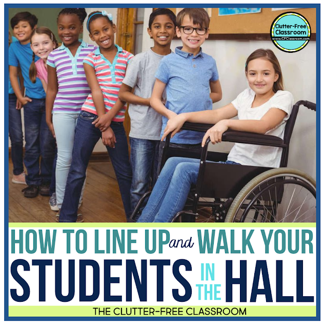 Do you need ideas for teaching elementary students about lining up and walking in line in the hall so you are ready for back to school? Try out these classroom management procedures, routines, strategies, and techniques from the Clutter Free Classroom!