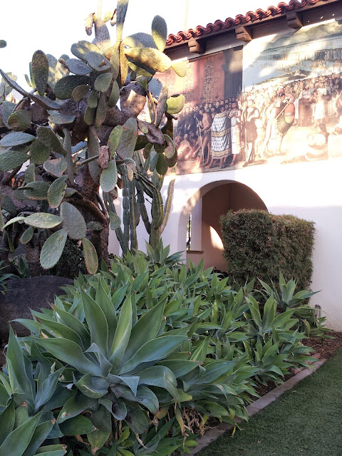 Drought tolerant Mission style garden at the Bowers Museum in Santa Ana, CA