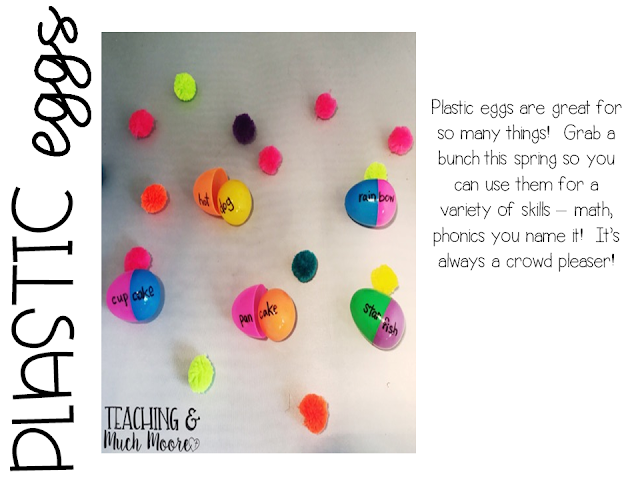 center idea for compound words with plastic eggs