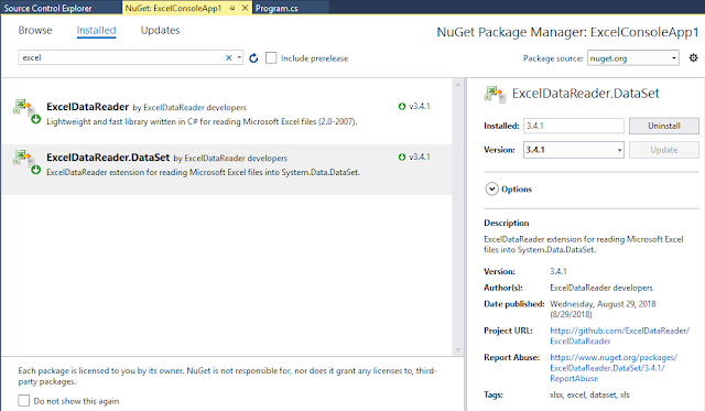 ExcelDataReader Nuget Package
