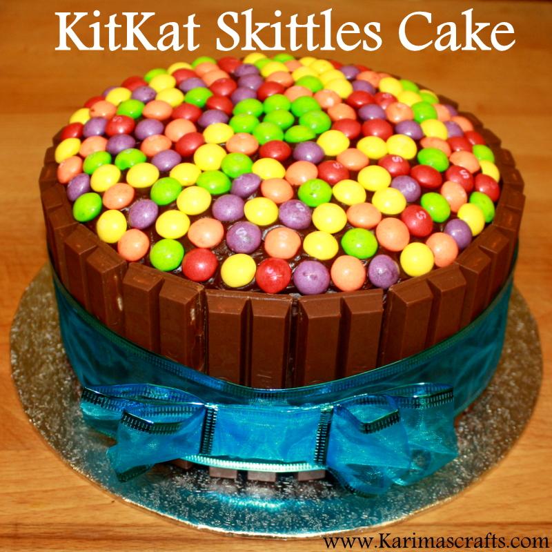 Karimas Crafts Kit Kat Skittles Cake Tutorial