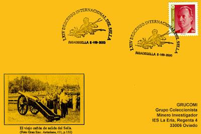 Tarjeta del matasellos del 44 Descenso Internacional del Sella, Piraguas 2000