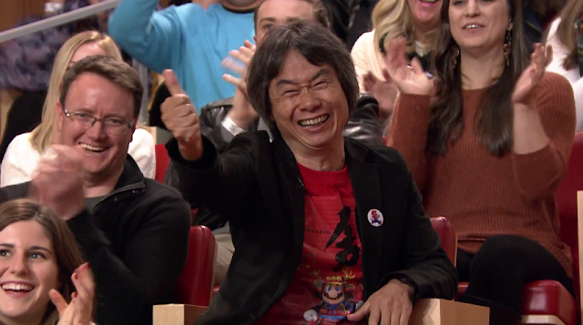 Shigeru Miyamoto thumbs up Jimmy Fallon Tonight Show Super Mario Run Bill Trinen happy approve