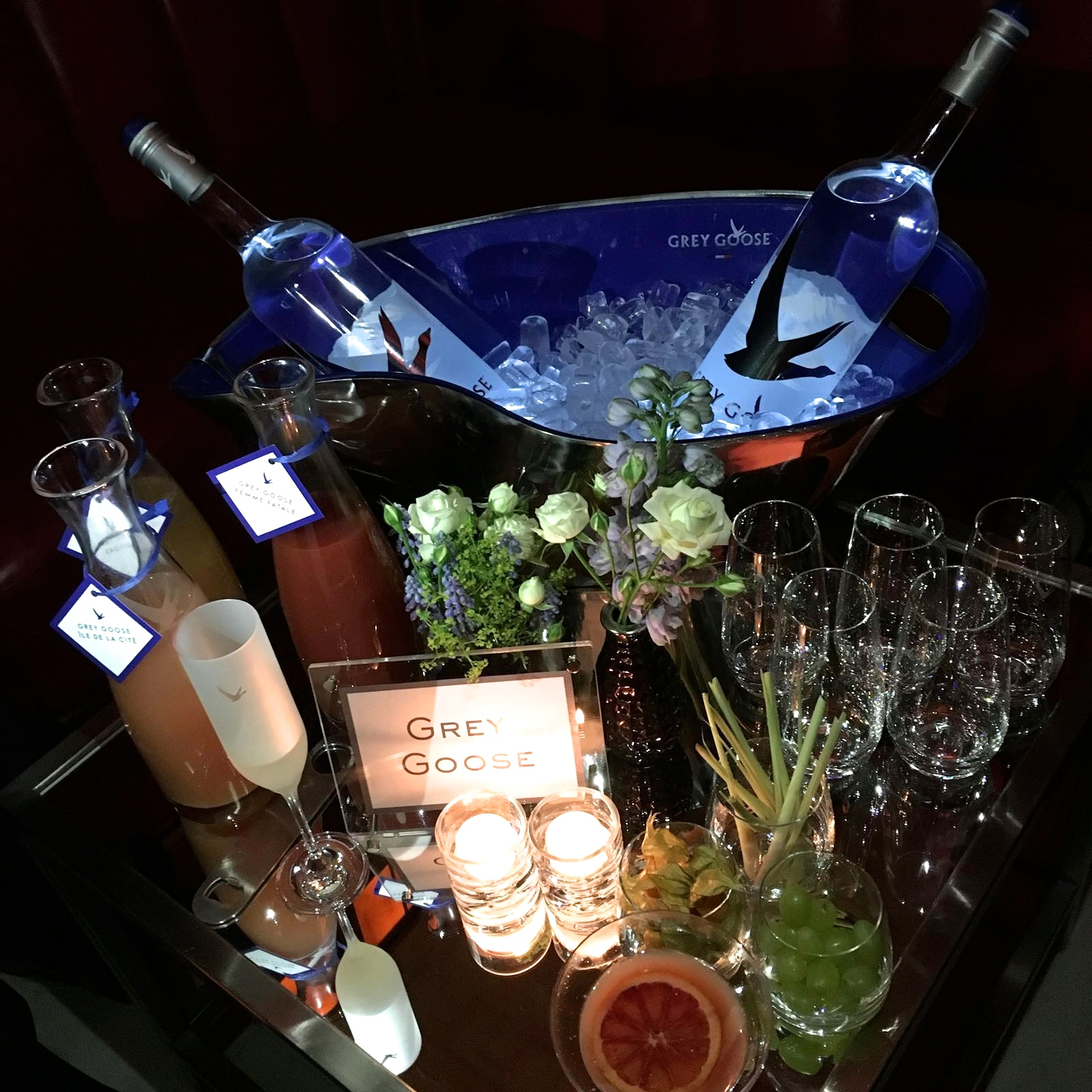 Grey Goose table and bottles at the BAFTA's Harvey Weinstein Afterparty 2016