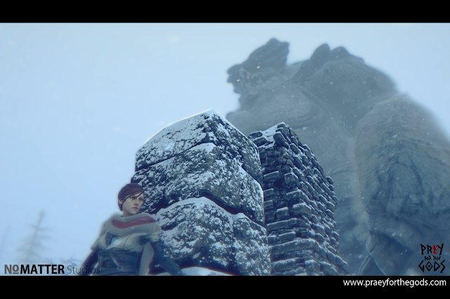 "The protagonist hiding behind a pillar while a massive ""god"" looms in the background."