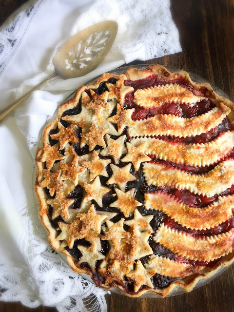 American Flag Pie, made with a homemade pie crust that brings this pie to a rich balance of buttery flakiness as well as a luscious sweet-tart taste of homemade pie filling.