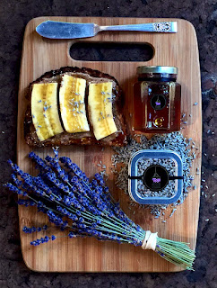 Toast with Organic Culinary Lavender and Lavender Honey