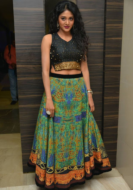 Sushma Raj in Black Tops and Multi Ghaghra at Audio Launch Function