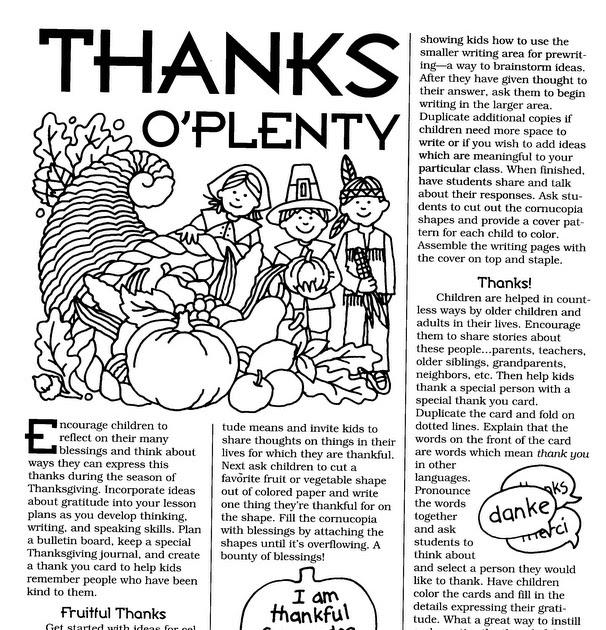 ELEMENTARY SCHOOL ENRICHMENT ACTIVITIES: THANKS O'PLENTY