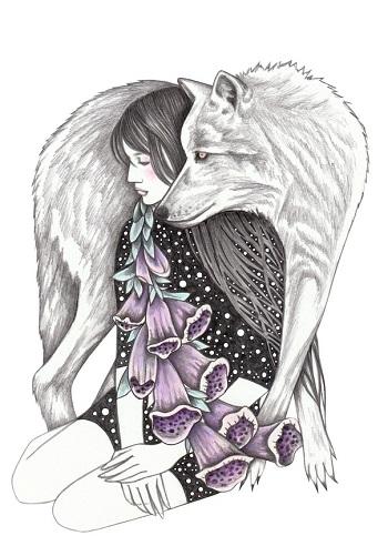 """Witches gloves"" by Andrea Hrnjak | dibujos bonitos a lapiz | imagenes lindas | illustration art | lobos y mujer con flores"