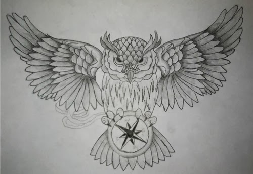 Owl and compass tattoo stencil