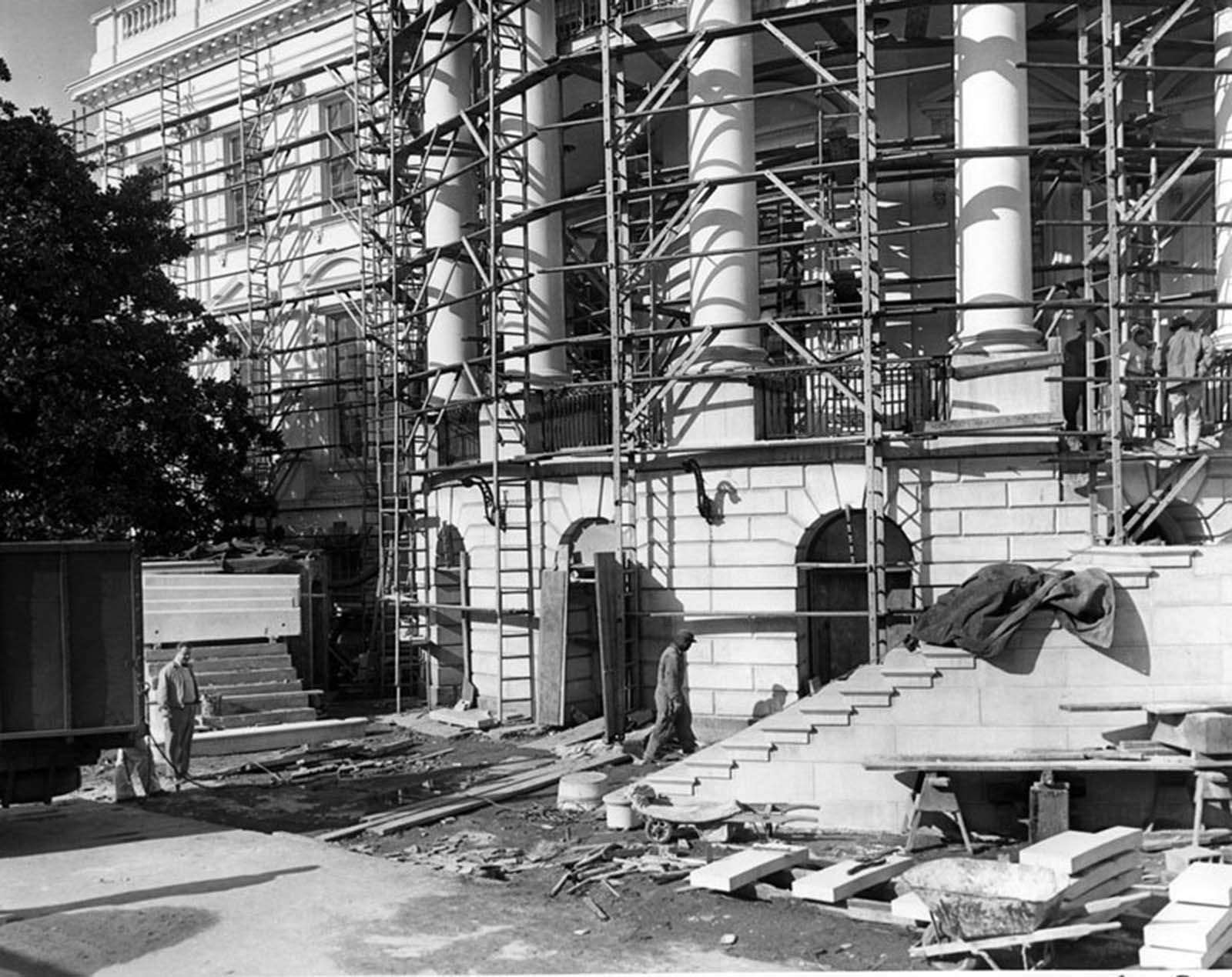 New steps of the South portico being erected. 1952.