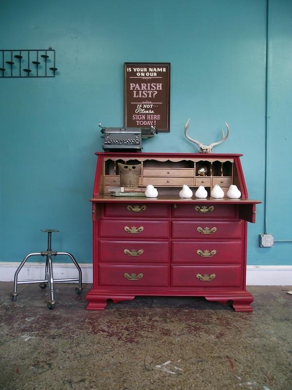 vintage ground vintage deep red secretary desk. Black Bedroom Furniture Sets. Home Design Ideas