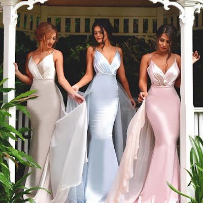Sexy Spaghetti Straps Stretch Satin Prom Gowns Mermaid Chiffon V-neck Evening Dresses 2017