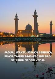 Waktu Imsak & Berbuka Puasa bagi Negeri Kedah 2019
