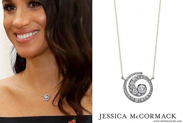 Meghan Markle wore JESSICA MCCORMACK Tattoo Diamond Pendant