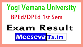 Yogi Vemana University BPEd/DPEd 1st Sem Exam Results