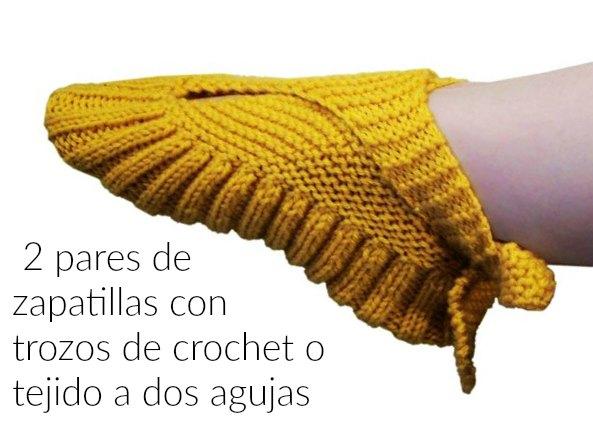 Cómo hacer Zapatillas con un Trozo de Crochet o tricot