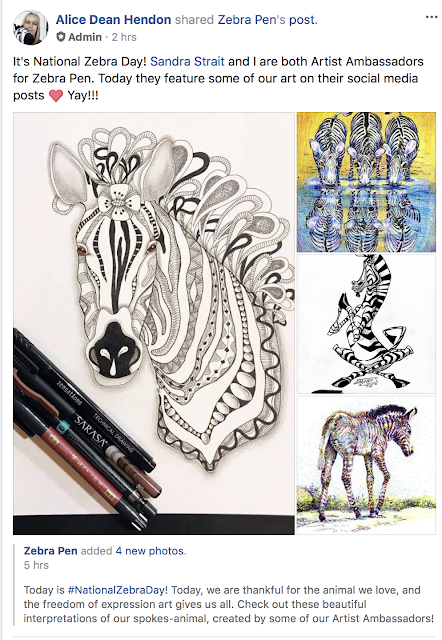 Zebra Pen's facebook post about National Zebra Day, featuring my zebra