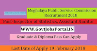 Meghalaya Public Service Commission Recruitment 2018- Inspector of Statistics, Assistant Auditor