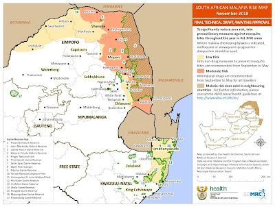 South Africa, Malaria, Malaria Risk Map, Malaria Risk Map November 2018