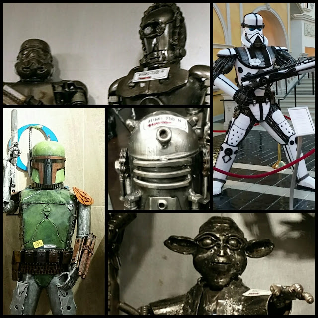 Star Wars metal sculpture art Boba Fett, Trooper, Yoda, R2-D2