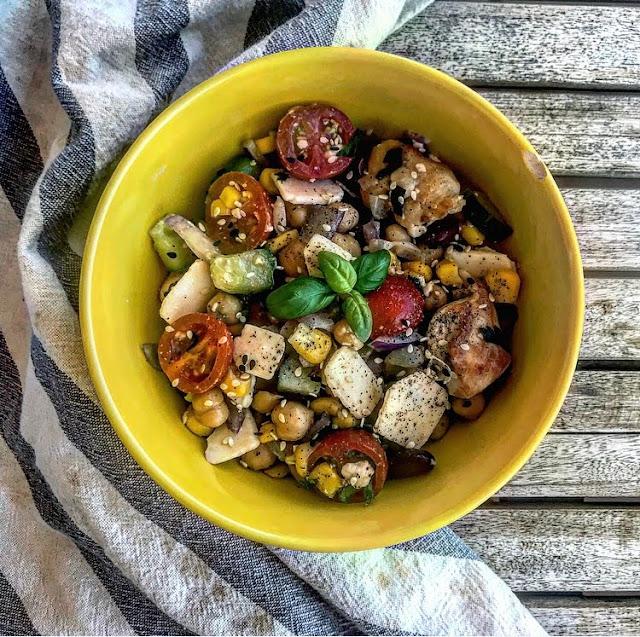 Salade healthy de poulet légumes et copeaux de parmesan charlotte and cooking