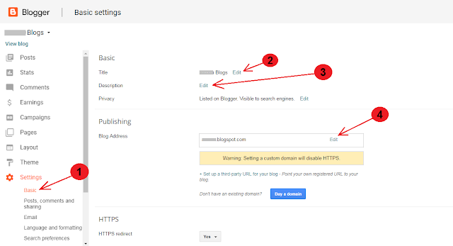 How to Change Blogger's Title, Description And Address