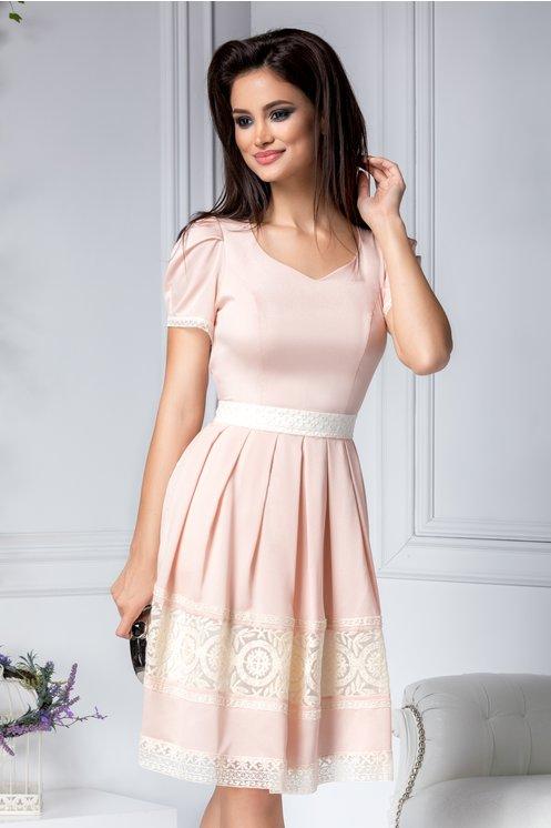 Rochie de ocazii de vara roz prafuit cu broderie