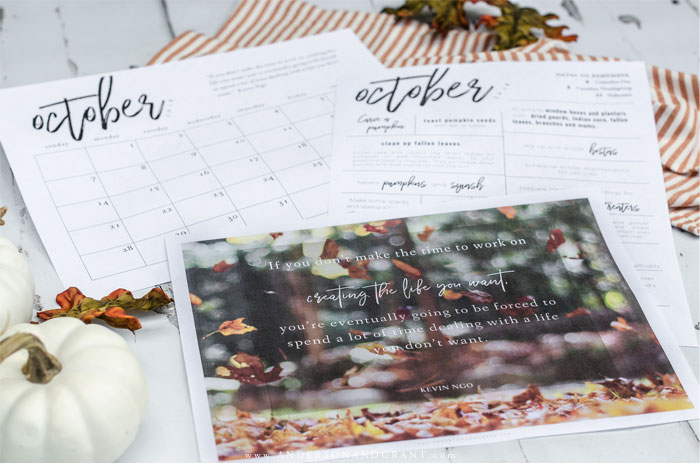 Free October printables