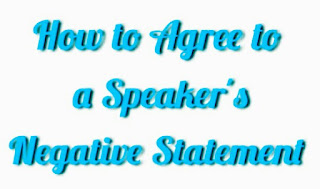 Different Ways of Agreeing to a Speaker's Negative Statement.