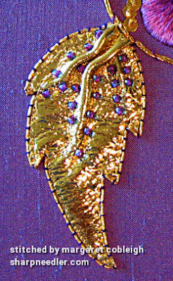 Goldwork leaf in detail. (Royal School of Needlework, goldwork with pansy)