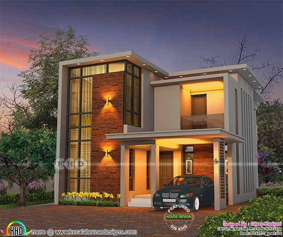 1917 sq-ft 3 bedroom flat roof contemporary house