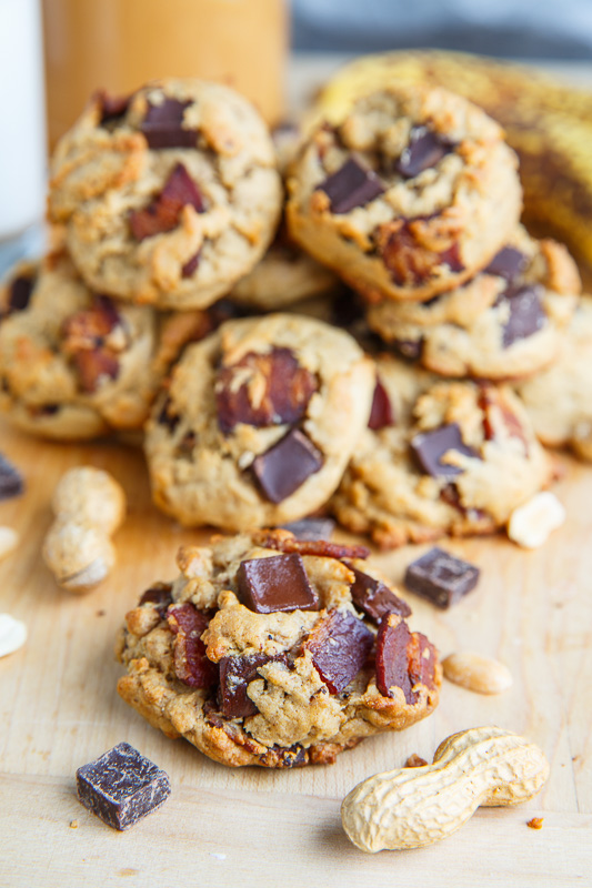 Soft And Chewy Banana Peanut Butter Cookies With Chocolate
