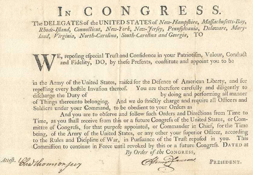 Charles thomson charles thomson signed military commission as secretary of the the continental congress spiritdancerdesigns Images