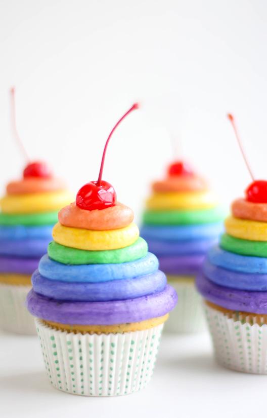 Rainbow Frosting Cupcakes Sprinkle Bakes