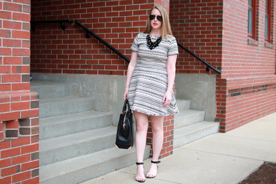 boston style blogger, boston dresses, boston fashion blogger, what i wore, banana republic jacquard dress,