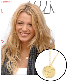 Single Initial Necklace Inset with Photo of Blake Lively