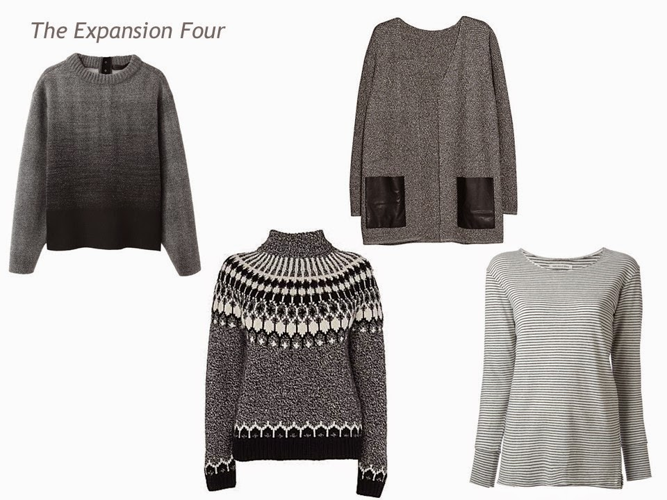 An expansion four in grey and black: on ambre sweater, a Fair Isle turtleneck, a tweed cardigan and a striped tee