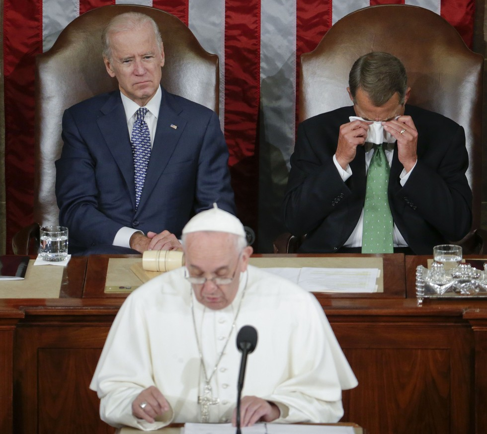 70 Of The Most Touching Photos Taken In 2015 - House Speaker John Boehner cries as Pope Francis address a joint meeting of Congress