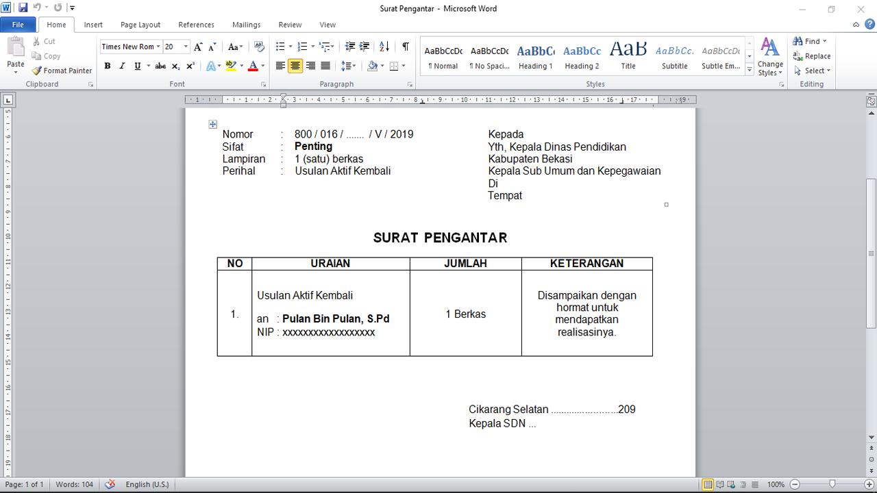 Format Surat Pengantar di Instansi Pendidikan