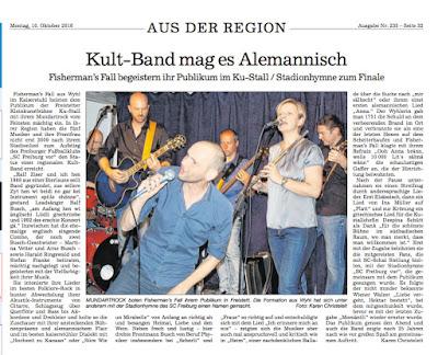 Zeitungsbericht im Bühler Bote zum Konzert von Fisherman's Fall im KuStall (Freistett)